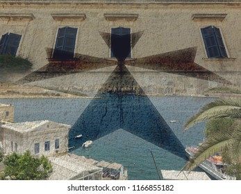 Malta Double Exposure B, Maltese Cross Blended with Coastline and Old Windows Art photography