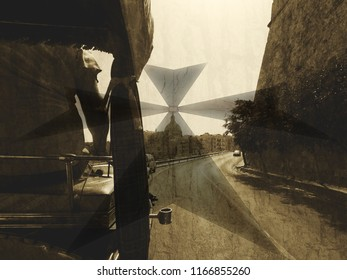 Malta Double Exposure C, Maltese Cross Blended with Rear view of Carriage Art photography