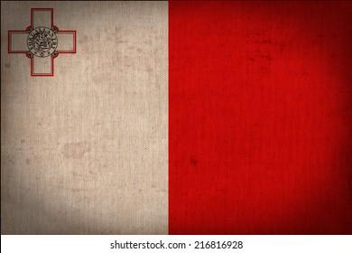 Malta flag pattern on the fabric texture ,retro vintage style