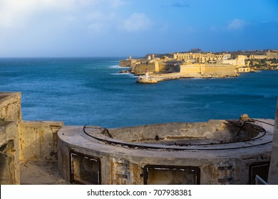 Malta. Fort Ricasoli and Breakwater with the lighthouse viewed from the walls of Fort Saint Elmo, Grand Harbour
