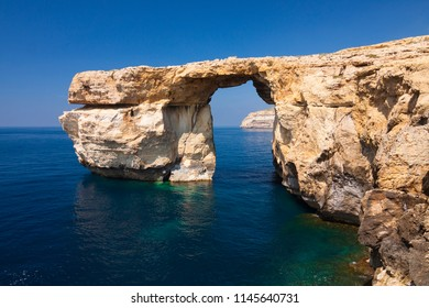 Malta - Gozo - Unique rock formation Azure window natural arch at the western coast of Dwejra bay