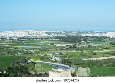A Malta green landscape with sea in horizon