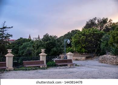 Malta - Herbert Ganado gardens - view of Floriana town