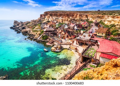 Malta, Il-Mellieha. View of the famous village Mellieha and bay on a sunny day