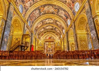 MALTA - JANUARY 21 2015: St John�¢??s Co-Cathedral a gem of Baroque art and architecture interior. Valetta, Malta