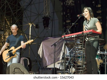 MALTA - JULY 26 2008 - Ira Losco live on stage in Malta on 26th July 2008 She is Malta's leading female rock act