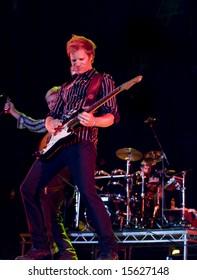 MALTA - JULY 26 - Duran Duran guitarist Dom Brown live on stage in Malta on 26th July 2008 during Red Carpet Massacre Tour