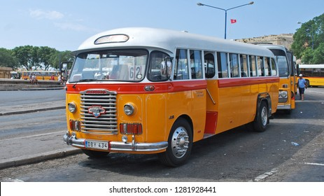 Malta June 2009 Vintage Leyland Bus in commercial use on the island of Malta