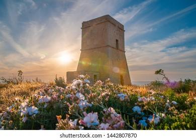 Malta. Lippija Tower. Maltese landmark. Lippija Tower at the sunset. Beautiful maltese landscape. Famous Europe destination.