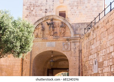 Malta. Mdina. A bas-relief depicting St. Paul (center) and Luke (left) at the gates of the city of Mdina (Rabat)