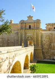 Malta, Mdina. Picture is showing a gate to Mdina fortress.