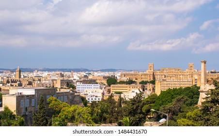 Malta panoramic view over St. Luke hospital and Pieta town