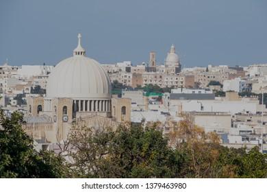 Malta Qormi town wirh the view of the Qormi dome