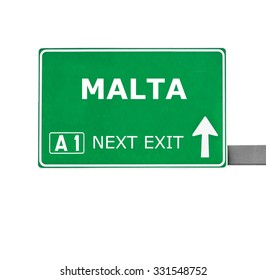 MALTA road sign isolated on white