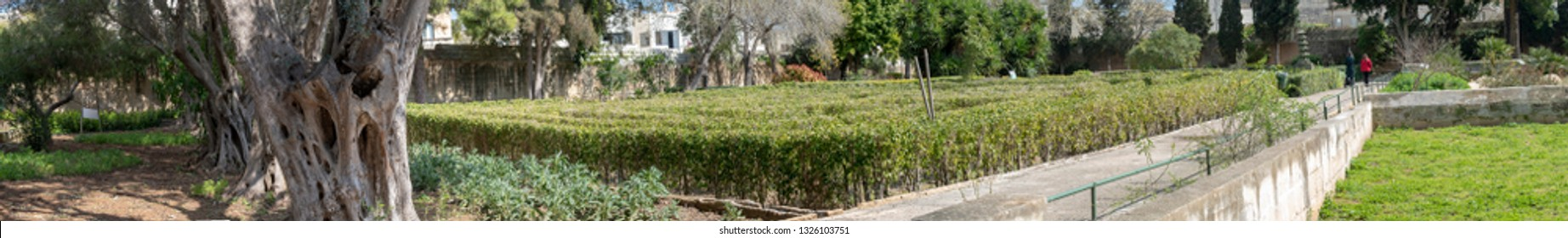 Malta San Anton garden - the maze - japan lane - panoramic view