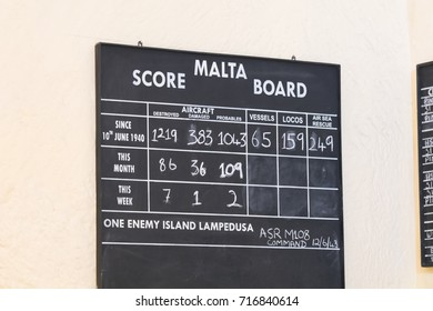 Malta Score board showing the tally of planes shot down during world war two, RAF Sector Operations Room Interior Headquarters Lascaris War Rooms, Valletta, Malta, June 2017