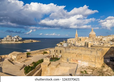 MALTA - SEP 21, 2016; From left to right: Sliema, Marsamshet Bay, Valletta