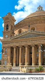 Malta, Valletta - July 09, 2013 - Church of St. Mary, dedicated to the Assumption of Our Lady, known as the Mosta Dome or Rotunda.