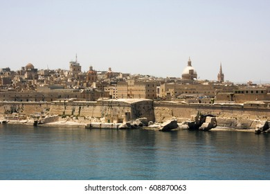 Malta Valletta - May 20 2009: View of Valletta's Grand Harbor with her architecture. Valletta is the capital city of Malta and has the population of 6,444. Founded in 1565 by the Order of St John