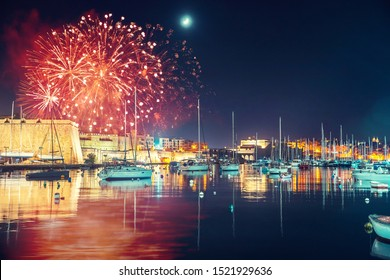Malta Valletta night Festival of fireworks. Travel concept.