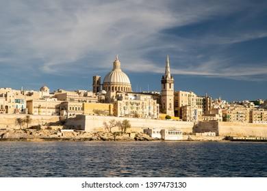 Malta. Valletta skyline. Valletta cityscape at sunset. Malta resort.