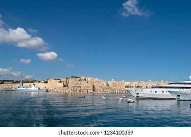 Malta Valletta view of the grand harbour