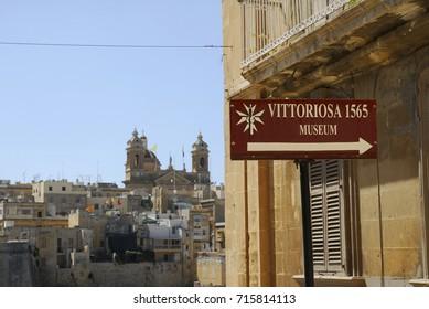 MALTA-SEPTEMBER 5: Street sign in Vittoriosa ( aka Birgu ), one of the three cities of Malta,on September 5,2007.