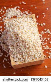 Malted rice in masu , japanese wooden measure cup