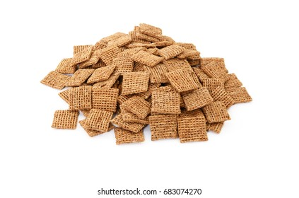 Malted shredded wheat biscuits breakfast cereal, isolated on a white background