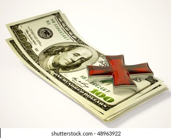 Maltese cross on the money isolated