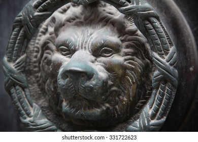 The Maltese have a tradition of ornate door knockers such as this lion's face on a door in Valletta the capital.