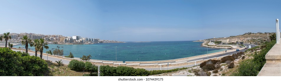 Maltese islands - Qawra bay panoramic view