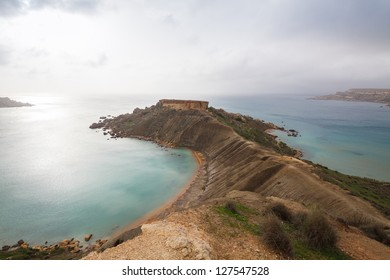 Maltese rocky seascape, island's west side, Gnejna and Riviera Bay, Malta