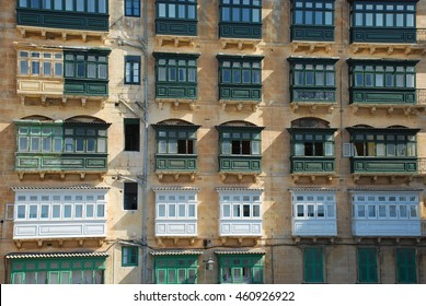 Maltese typical balconies, architectural style of Valletta, capital of Malta