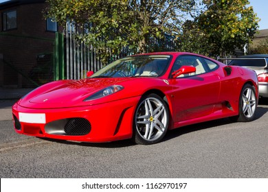 Malton. England. 10.13.12. Ferrari F430 sports car is powered by a 4.3 liter V8 petrol engine (483BHP) and has a top speed of 196mph and can accelerate from 0-62mph in 4.0 seconds.
