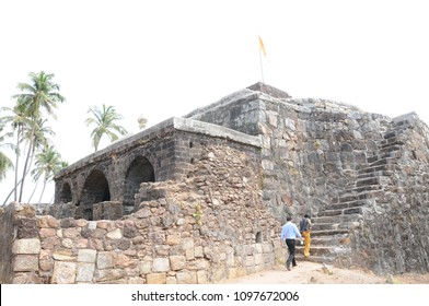 MALVAN, MAHARASHTRA, INDIA 23 MARCH 2015 : Unidentified tourists at Sindhudurg Fort, it is built on an island and surrounded on all four sides by the Arabian Sea.