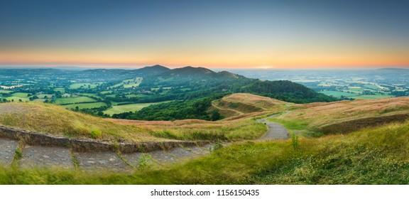Malvern hills at dawn.