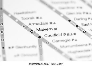Malvern Station. Melbourne Metro map.
