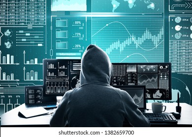 Malware and hud concept. Back view of hacker at desktop using laptop with digital business interface on blurry background