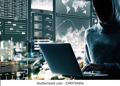 Malware and hud concept. Side view of hacker using laptop with digital business interface on blurry night city background. Double exposure
