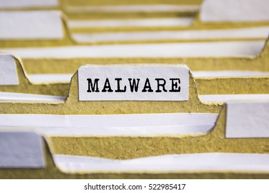 Malware word on card index paper