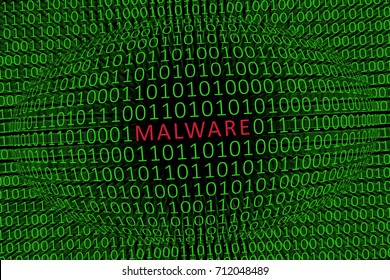 Malware In Your Data / Image showing the word MALWARE in red within a sphere of ones and zeros with more green ones and zeros in the background. Depiction of a malware among data.