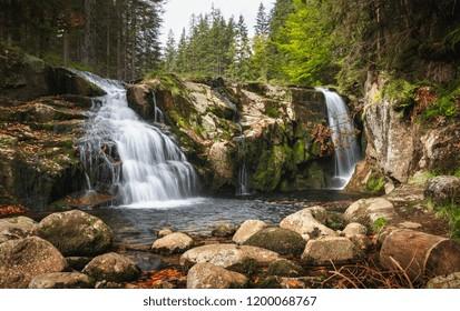 Maly Labsky waterfall cascade in Krkonose National Park, Czech republic mountains