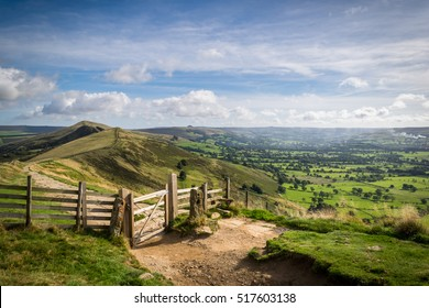Mam tor gate in peak district on sunny day,hope valley
