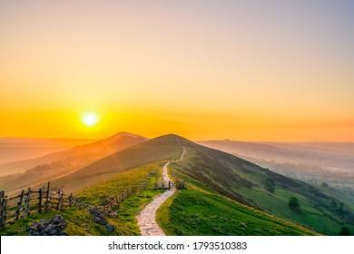 Mam Tor mountain at sunrise in Peak District. United Kingdom