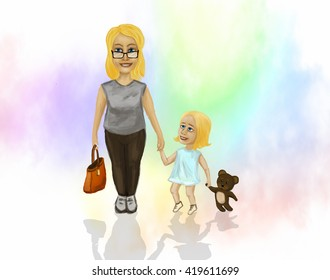 Mama with a small daughter, who is holding the hand of a teddy bear.