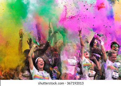 MAMAIA, ROMANIA - JULY 26: Crowds of unidentified people at The Color Run on July 26, 2014 in Mamaia, Romania. The Color Run is a worldwide hosted fun race with about 1500 competitors in Mamaia.