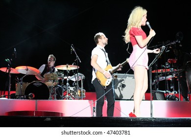 MAMAIA, ROMANIA - JUNE 26: 2009 BRIT Awards Winner, Duffy in concert on June 26, 2009 on H2O Beach, Mamaia, Romania.