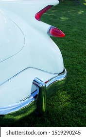 Mamaroneck, New York -  September 8, 2019. The read end of a handmade car with the tail fin of a 1960 Cadillac and talights from a 1959 and 1960 Cadillac