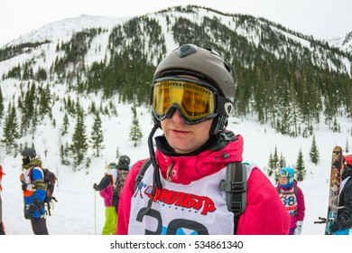 Mamay, Russia - December 7-11, 2016: Competitions freeride Mamay First Snow 2016 mountain near Mamay, on Lake Baikal in December 2016. Portraits of the finalists and the audience